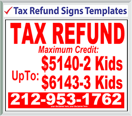 "Browse Tax Refund Signs Templates 24"" x 18"""